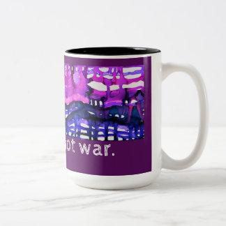 """Make Music Not War"" - Alcohol Ink Art Print Two-Tone Coffee Mug"
