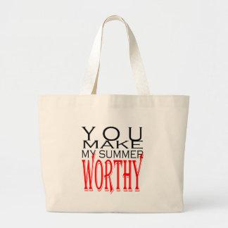 make summer worthy flirt teenage memory hot black large tote bag