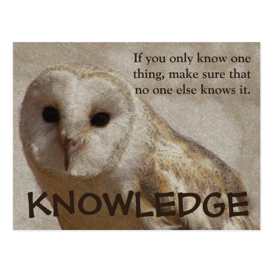 Make sure that only you have the knowledge postcard