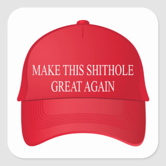 Make this shithole great again red cap square sticker