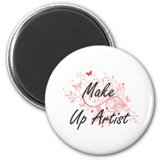 Make Up Artist Artistic Job Design with Butterflie 6 Cm Round Magnet