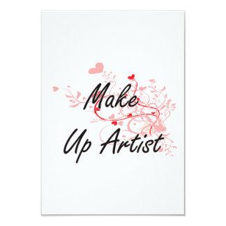 Make Up Artist Artistic Job Design with Hearts 9 Cm X 13 Cm Invitation Card