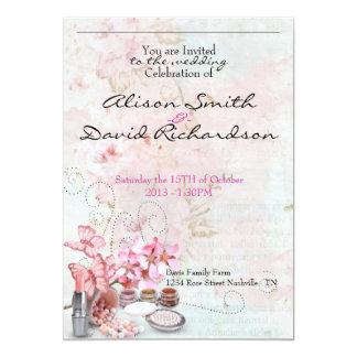 Make up delicate girly feminine wedding invitation
