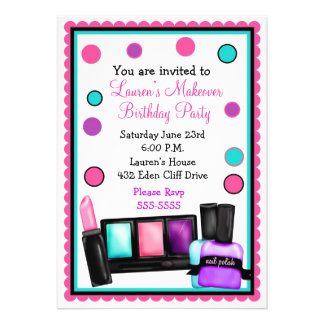 Make-up Make over Birthday Invitations