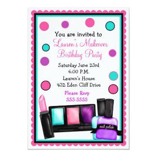 "Make-up Make over Birthday Invitations 5"" X 7"" Invitation Card"