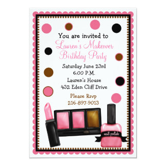 Make-up Make over Birthday Invitations