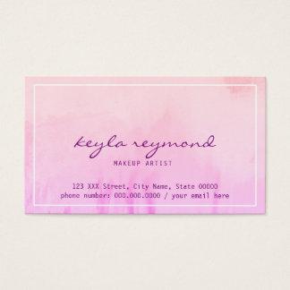 make-up makeup pinkish watercolor business card