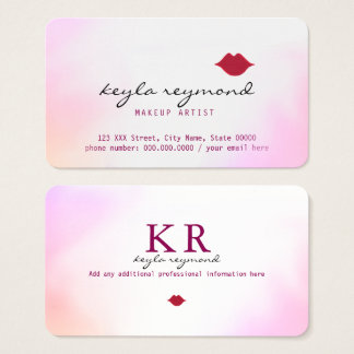 make-up makeup soft watercolor + red lips business card