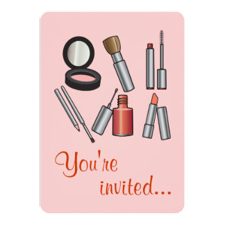 Make-Up Party 13 Cm X 18 Cm Invitation Card