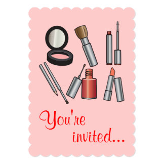 Make-Up Party 5x7 Paper Invitation Card