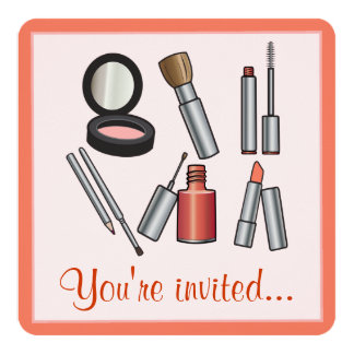 Make-Up Party 5.25x5.25 Square Paper Invitation Card