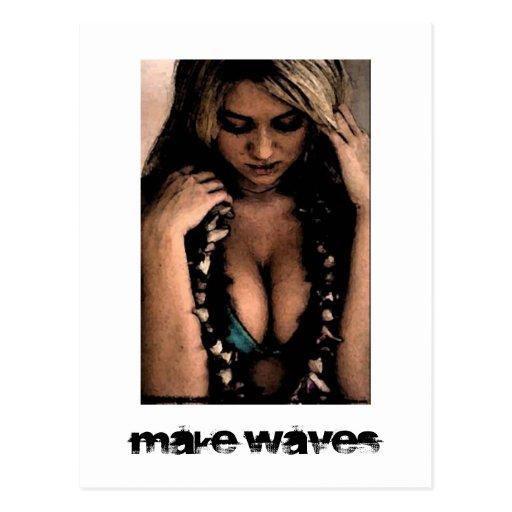 Make Waves Surfer Girl Postcard