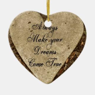 Make your Dreams Ceramic Heart Decoration