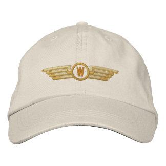 Make Your Monogram Aviation Laurels Pilot Wings Embroidered Baseball Caps