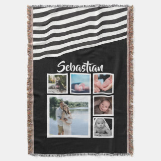 Make Your Own Black and White Striped Personalized Throw Blanket