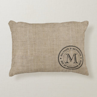 Make Your Own Burlap Retro Logo Monogram Decorative Cushion