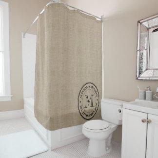 Make Your Own Burlap Retro Logo Monogram Shower Curtain