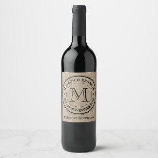 Make Your Own Burlap Retro Logo Monogram Wine Label