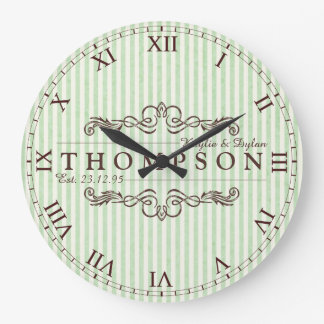 Make Your Own Chocolate Mint Anniversary Monogram Large Clock