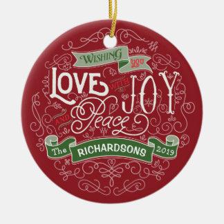 Make Your Own Christmas Typography Custom Banner Ceramic Ornament