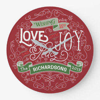 Make Your Own Christmas Typography Custom Banner Large Clock