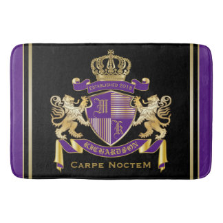 Make Your Own Coat of Arms Monogram Crown Emblem Bath Mat