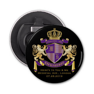 Make Your Own Coat of Arms Monogram Crown Emblem Bottle Opener