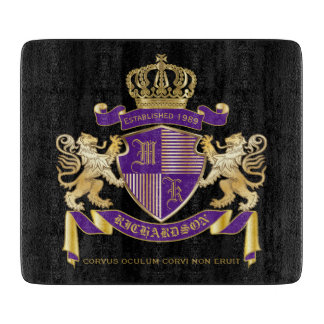 Make Your Own Coat of Arms Monogram Crown Emblem Cutting Board