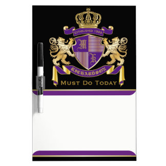 Make Your Own Coat of Arms Monogram Crown Emblem Dry Erase Whiteboards