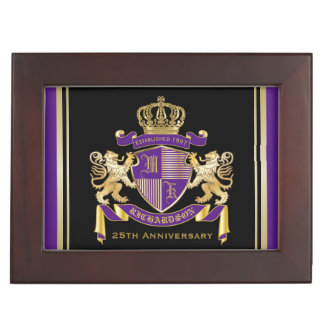 Make Your Own Coat of Arms Monogram Crown Emblem Keepsake Boxes