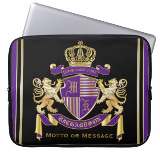 Make Your Own Coat of Arms Monogram Crown Emblem Laptop Computer Sleeve