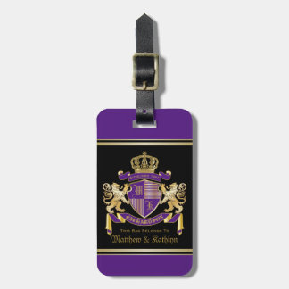 Make Your Own Coat of Arms Monogram Crown Emblem Luggage Tag