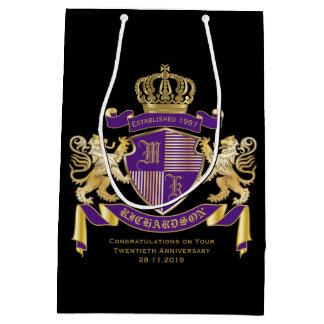 Make Your Own Coat of Arms Monogram Crown Emblem Medium Gift Bag