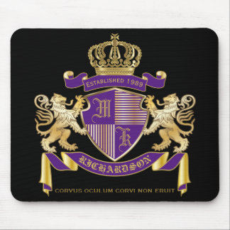 Make Your Own Coat of Arms Monogram Crown Emblem Mouse Pad