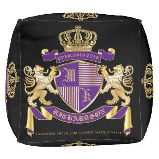 Make Your Own Coat of Arms Monogram Crown Emblem Pouf