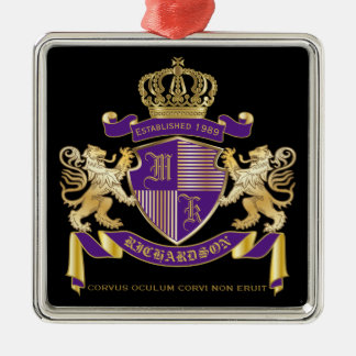 Make Your Own Coat of Arms Monogram Crown Emblem Silver-Colored Square Decoration