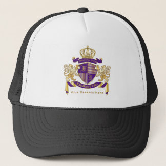 Make Your Own Coat of Arms Monogram Crown Emblem Trucker Hat