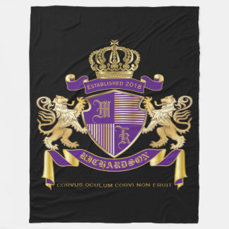Make Your Own Coat of Arms Monogram Lion Emblem Fleece Blanket