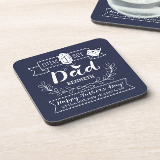 Make Your Own Father's Day No. 1 Dad Cute Monogram Coaster