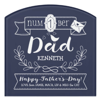 Make Your Own Father's Day No. 1 Dad Cute Monogram Door Sign