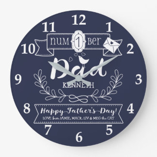 Make Your Own Father's Day No. 1 Dad Cute Monogram Large Clock