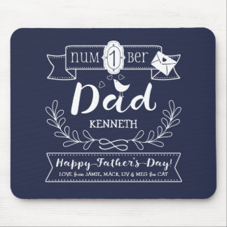 Make Your Own Father's Day No. 1 Dad Cute Monogram Mouse Pad