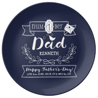 Make Your Own Father's Day No. 1 Dad Cute Monogram Porcelain Plate
