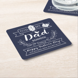 Make Your Own Father's Day No. 1 Dad Cute Monogram Square Paper Coaster
