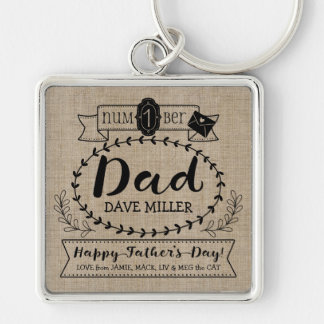 Make Your Own Father's Day Number 1 Dad Monogram Silver-Colored Square Key Ring