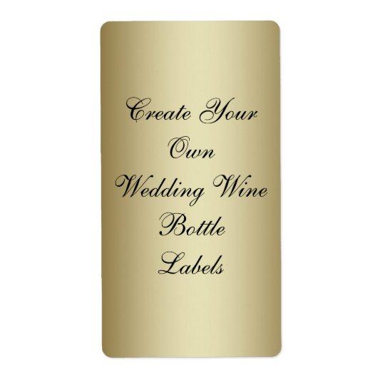 Make Your Own Gold Black Wedding Wine Bottle Shipping Label