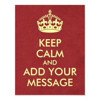 Make Your Own Keep Calm Invitation Card