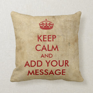 Make Your Own Keep Calm Red on Parchment Cushion
