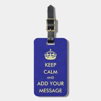 Make Your Own Keep Calm Royal Blue Kraft Paper Luggage Tag