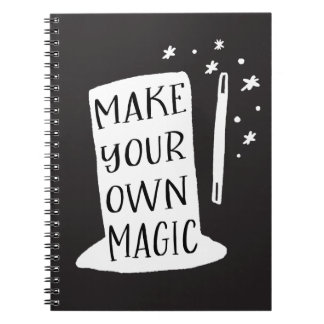 Make your Own Magic Black and White Typography Spiral Notebook
